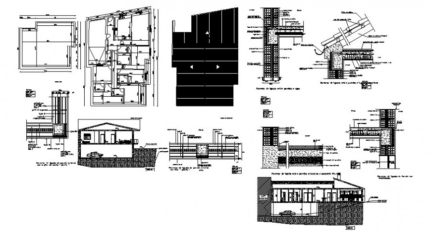Bungalow construction detail drawing in dwg AutoCAD file.