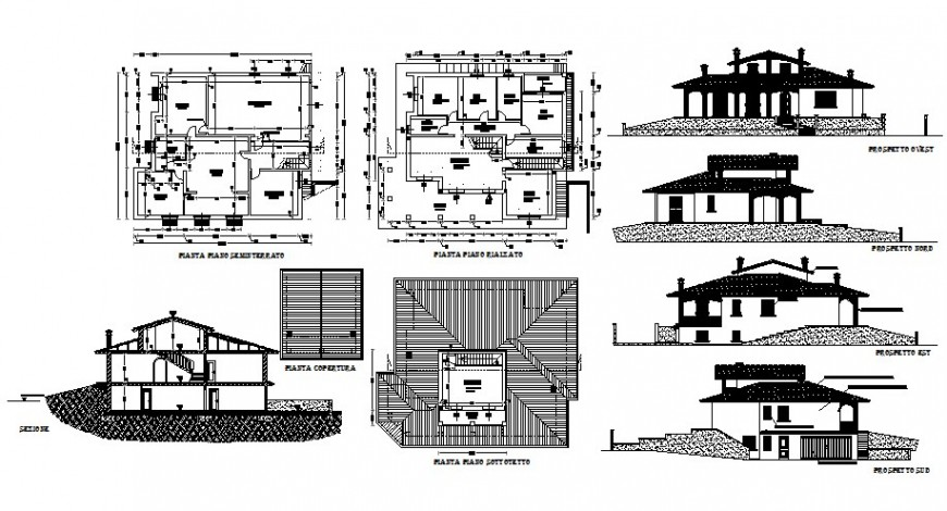 Bungalow design elevation, section, floor plan and auto-cad drawing details dwg file