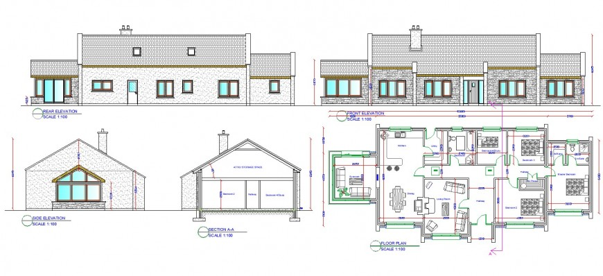 Bungalow detail plan, elevation and section layout file