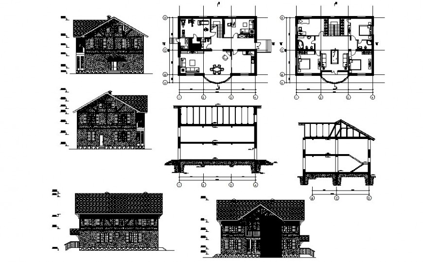 Bungalow detail plan elevation and section drawing in autoca