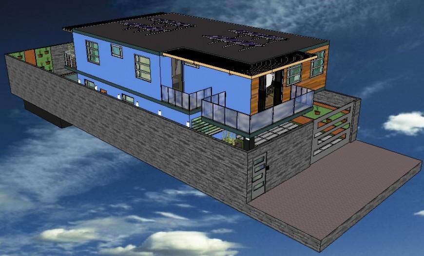 Bungalow details 3d model drawings sketch-up file