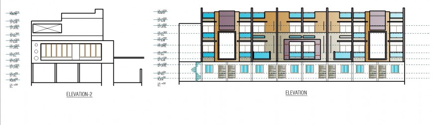 Bungalow different elevation drawing in dwg file.