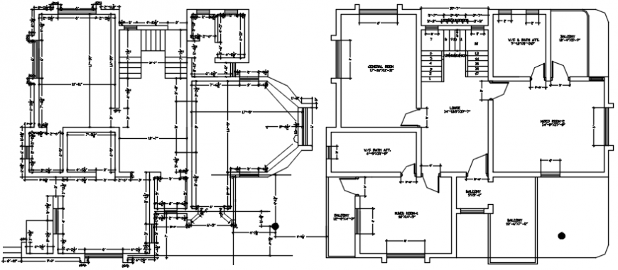 Bungalow distribution plan and framing plan structure details dwg file