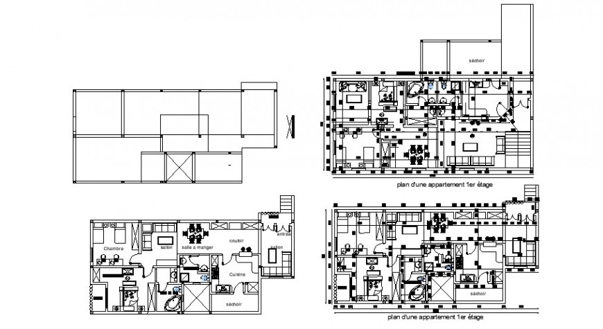 Bungalow drawings 2d view layout plan in autocad software file