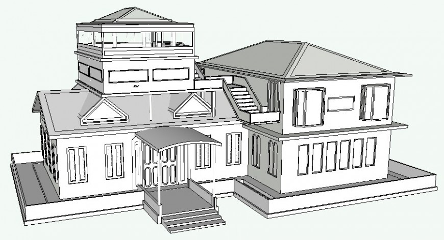Bungalow drawings 3d model details sketch-up file