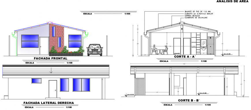 Bungalow elevation and sectional detail dwg file
