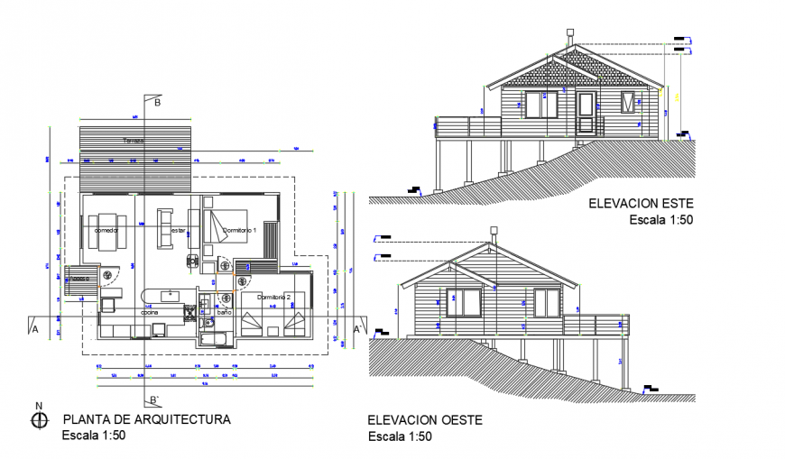 Bungalow elevation and top view layout plan dwg file