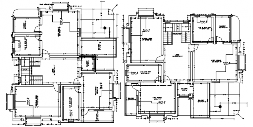 Bungalow floor plan distribution with dimensions cad drawing details dwg file