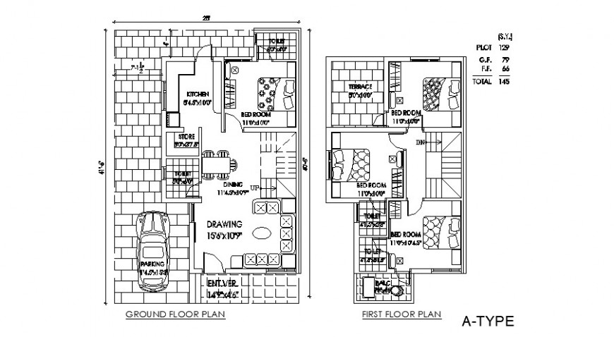 Bungalow floor plan drawing in dwg file.