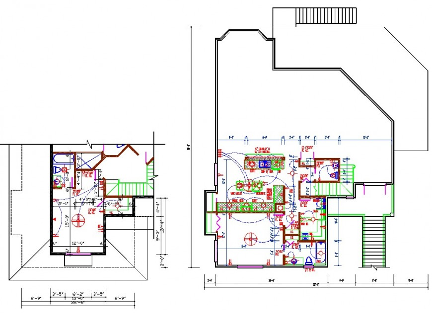 Bungalow floor plan electric drawing in dwg file.