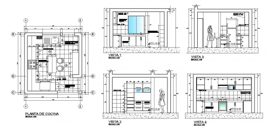 Bungalow kitchen interior drawing in dwg file.