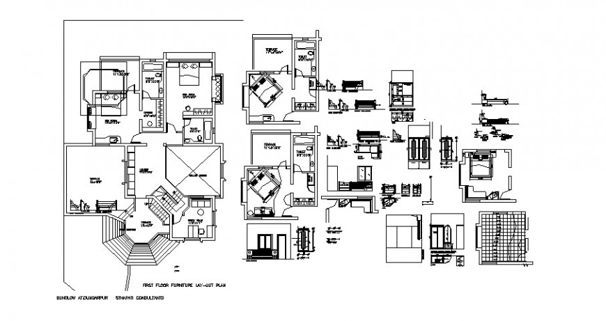 Bungalow layout plan, bedroom details and furniture cad drawing details dwg file