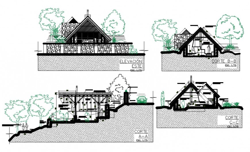Bungalow on mountain elevation and section drawing details dwg file