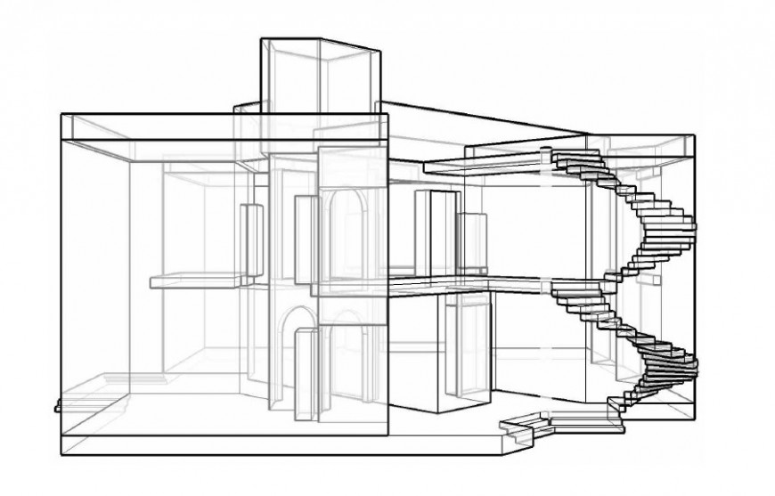 Bungalow perspective view drawing in AutoCAD file.
