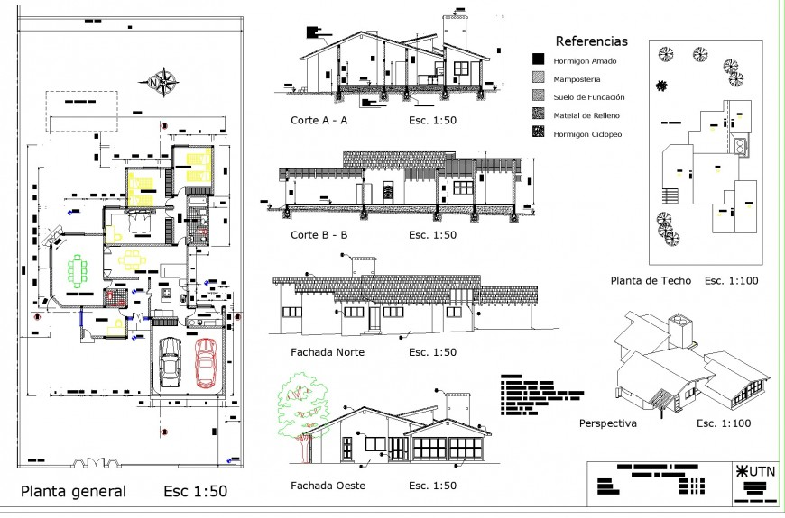 Bungalow plan, elevation and section layout file