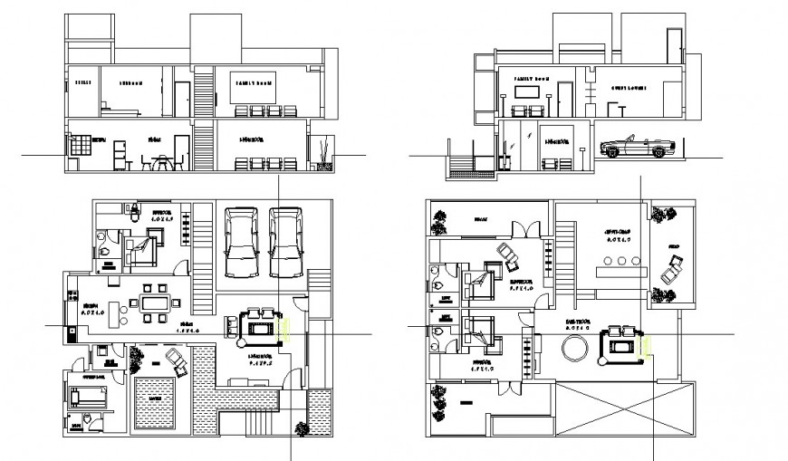 Bungalow plan and section layout file