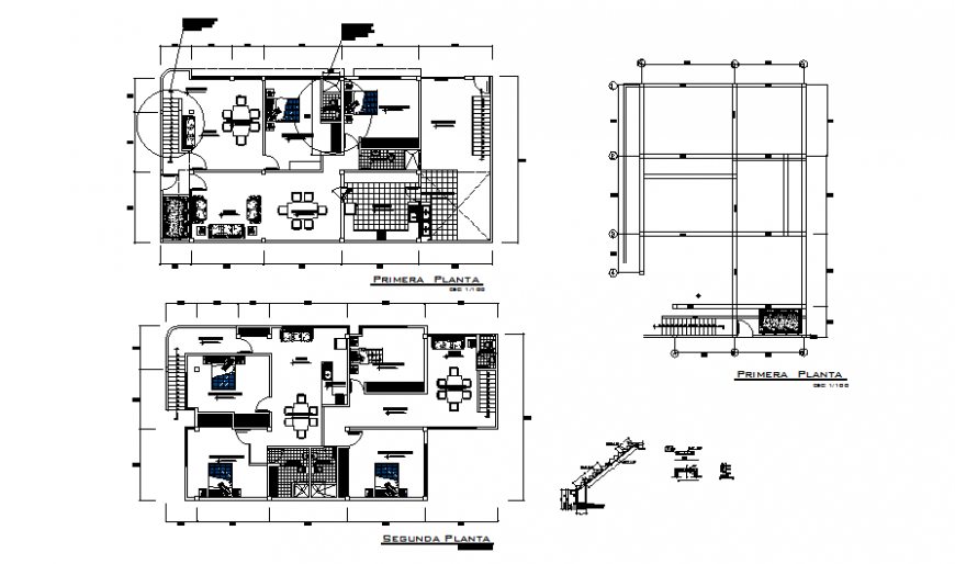 Bungalow plan and staircase detail dwg file