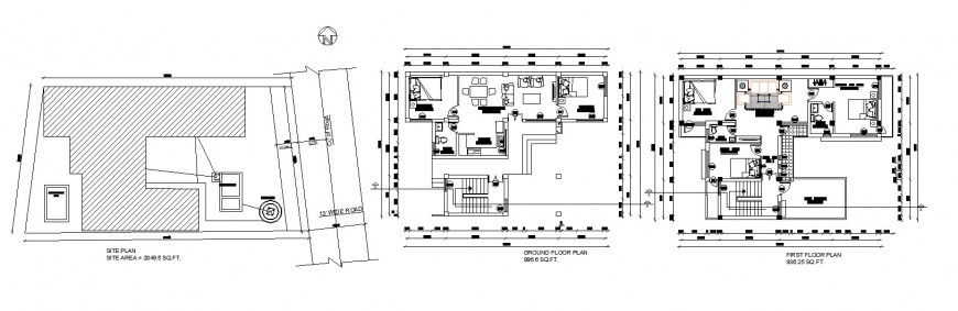 Bungalow site and floor plan drawing in dwg file.