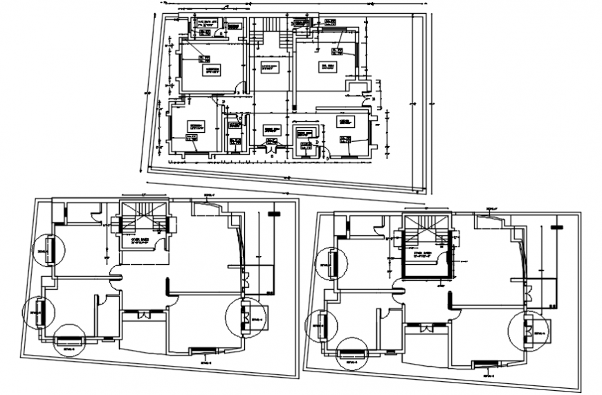 Bungalow three story floor plan distribution drawing details dwg file