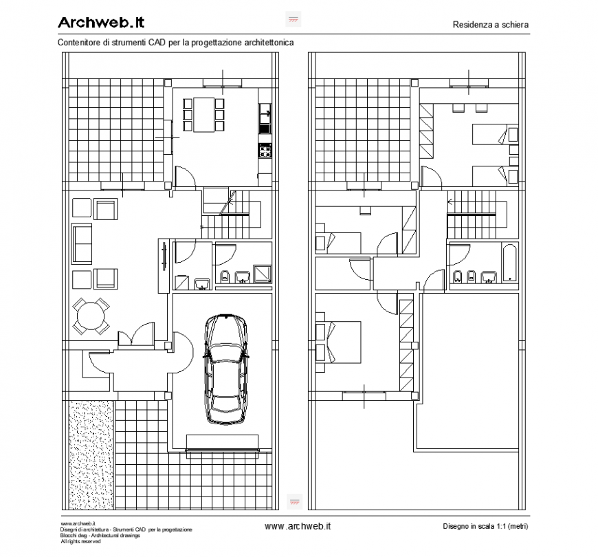 Bungalow unit plan presentation drawing in dwg file.