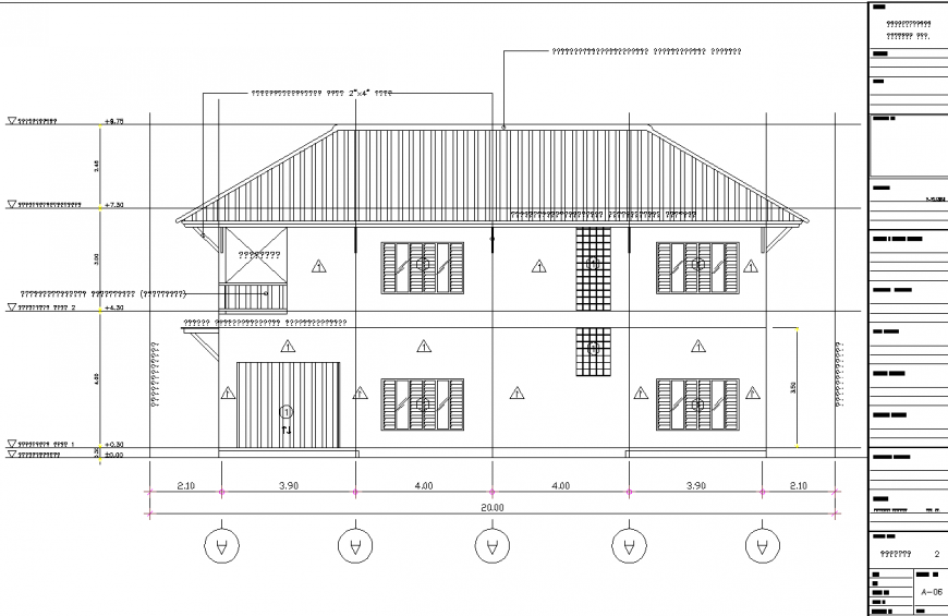 Bungalow with sloping roof elevation drawing in dwg file.