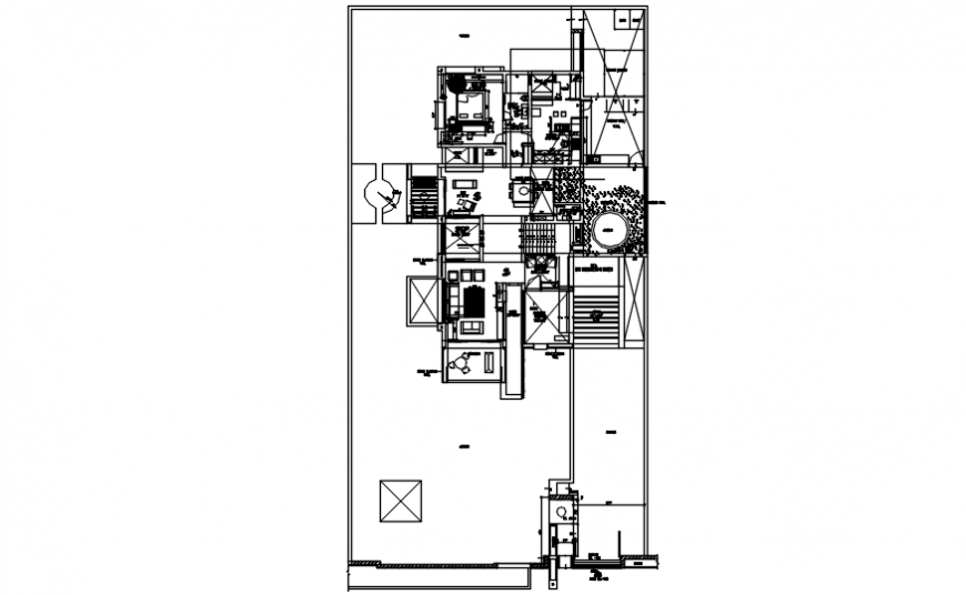 Bungalow with three bedroom layout plan with furniture cad drawing details dwg file