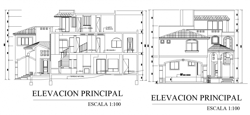 Bungalow with traditional elevation and section drawing in dwg file.