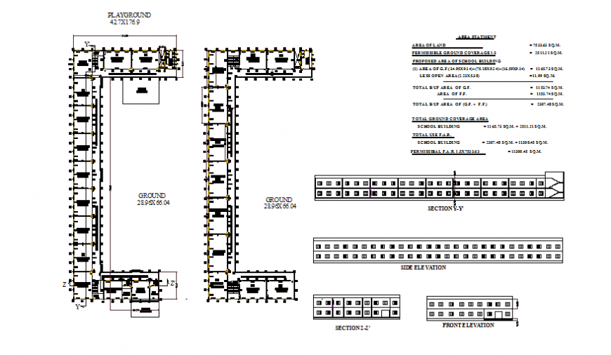 Bungalow working plan, elevation and section detail dwg file