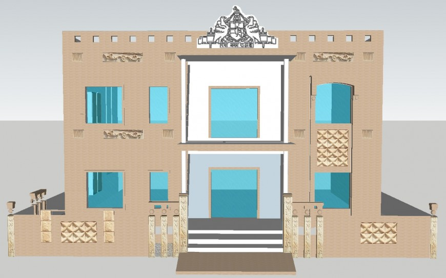 Bungalows 3d view in sketch up file