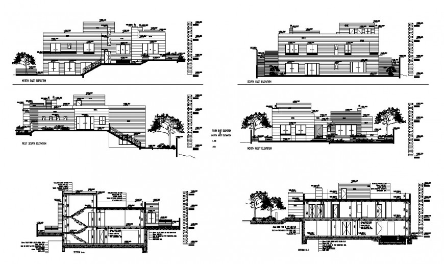Bungalows different axis elevation and section view in auto cad file