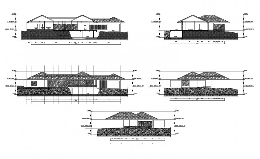 Bungalows different elevation in AutoCAD software