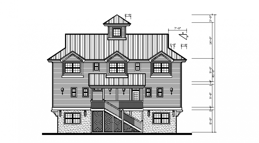 Bungalows elevation in auto cad file