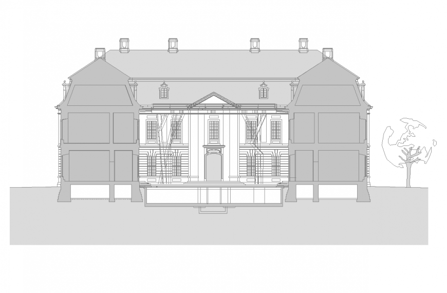 Bungalows elevation with architectural detail dwg file