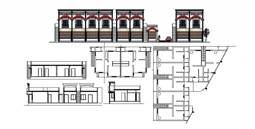 Bungalows floor plan and elevation in AutoCAD file