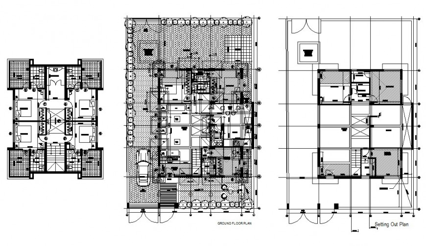 Bungalows floor plans in auto cad file