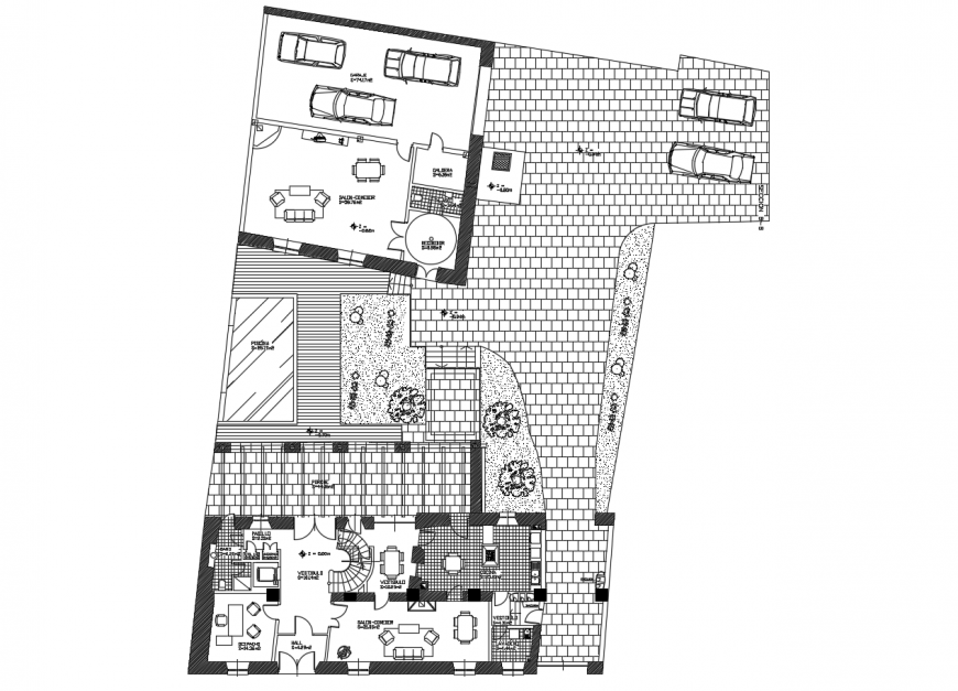 Bungalows general plan in file of AutoCAD