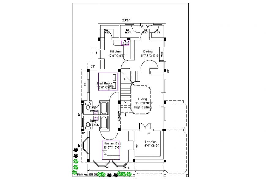Bungalows PLan Design Detail in DWG file