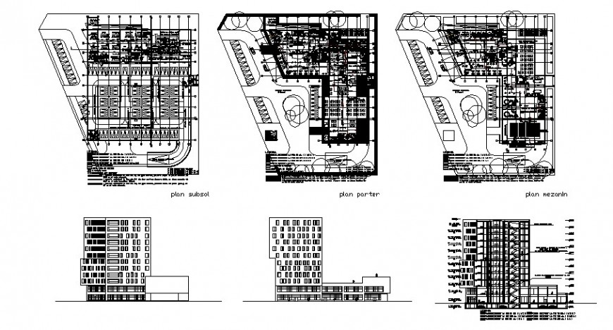 Burcharest five star hotel building elevation, section and floor plan drawing details dwg file