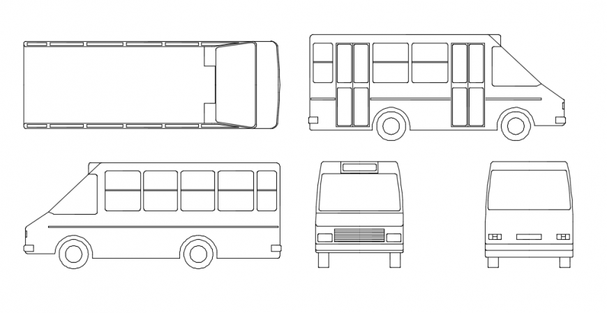 Bus all side of vehicle elevation detail dwg file detailing