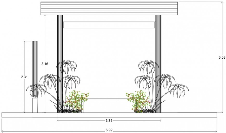Bus shelter sectional elevation file