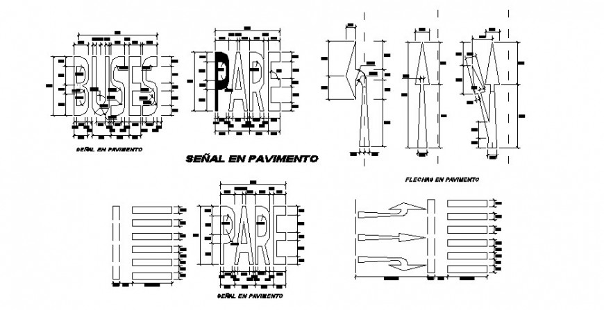 Bus stop and road sign and symbol blocks cad drawing details dwg file