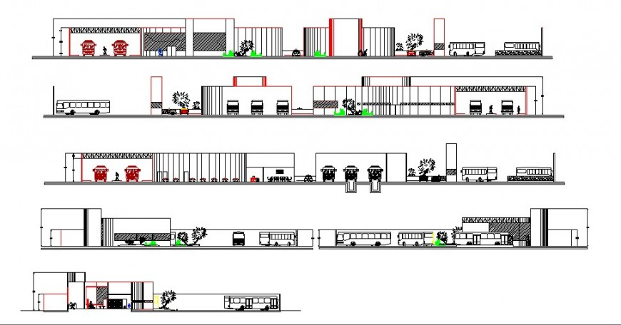 Bus terminal building all sided elevation and section drawing details dwg file