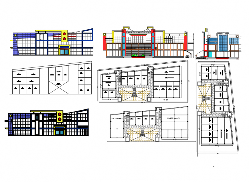 Business center building elevation, section and floor plan layout details dwg file