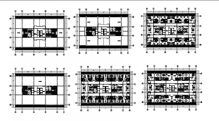Business center multi-story building floor plan distribution drawing details dwg file