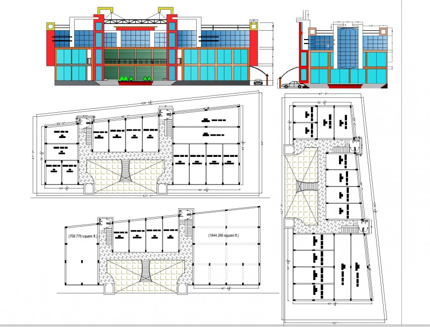 Business center with elevation autocad file
