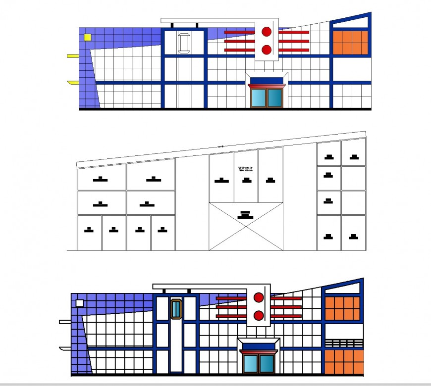 Business center with plan and elevation layout file