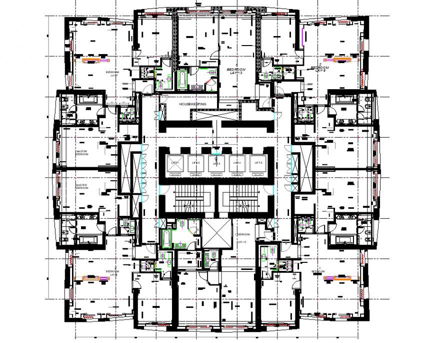 Business hub planning autocad file