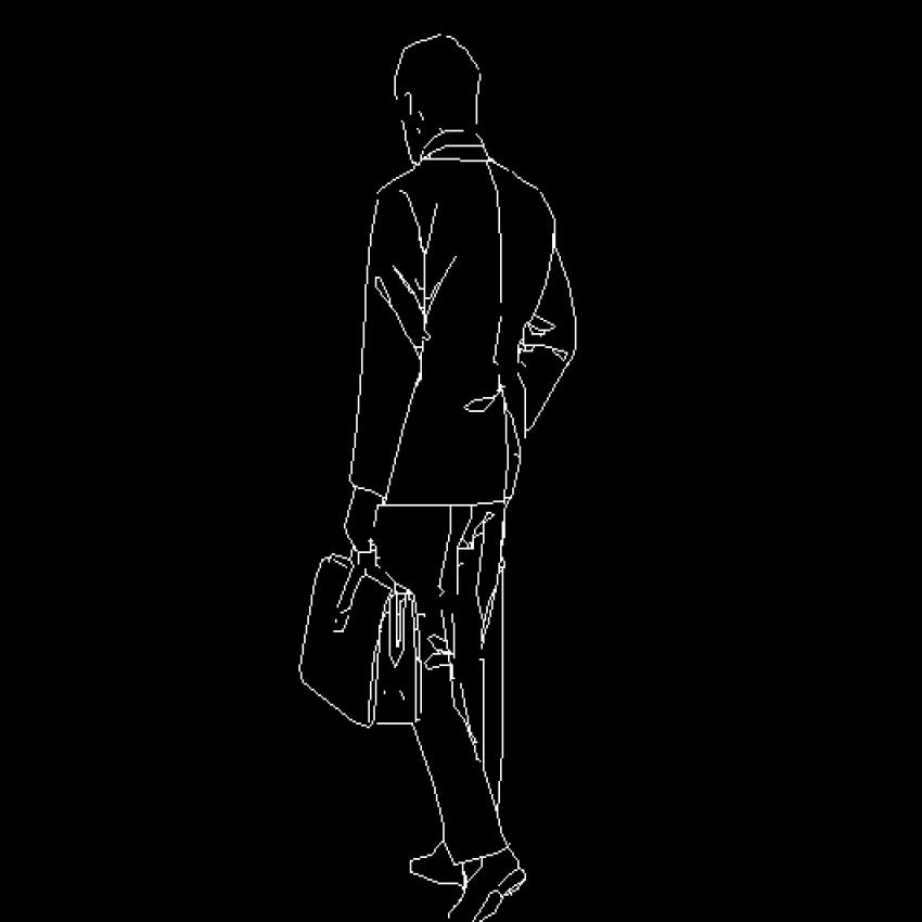 Business man cad block design back view dwg file