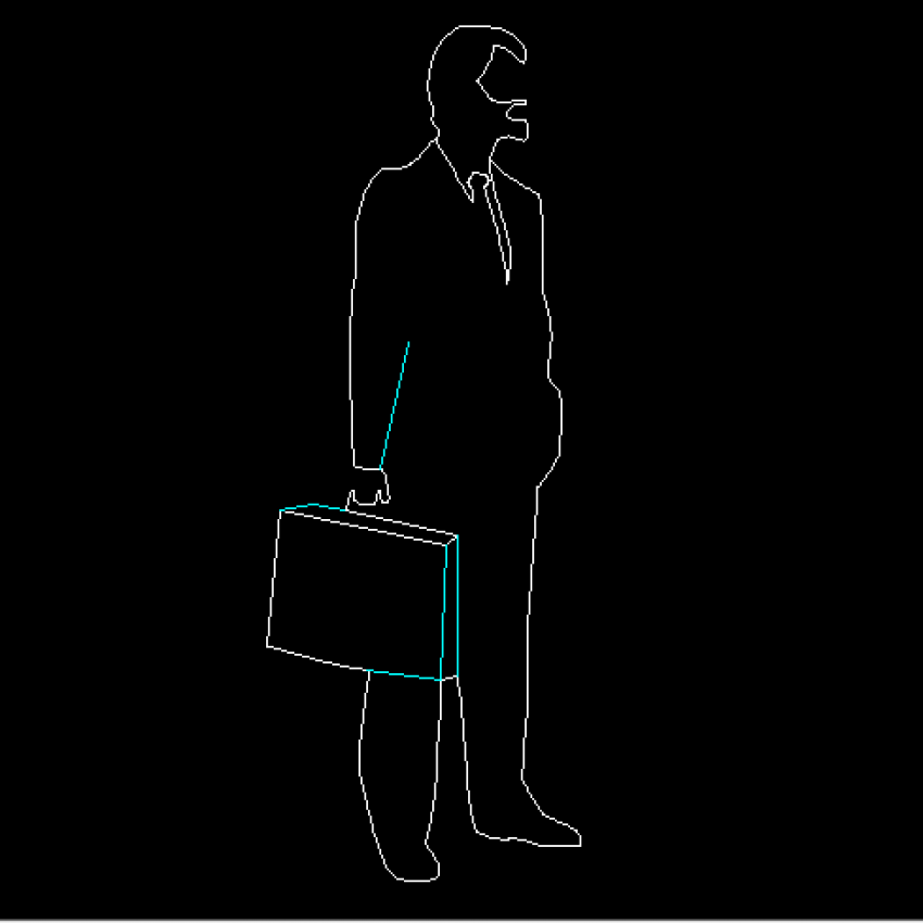 Business man front view elevation cad block design dwg file