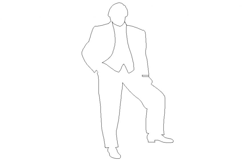 Businessman people 2 d layout detail dwg file